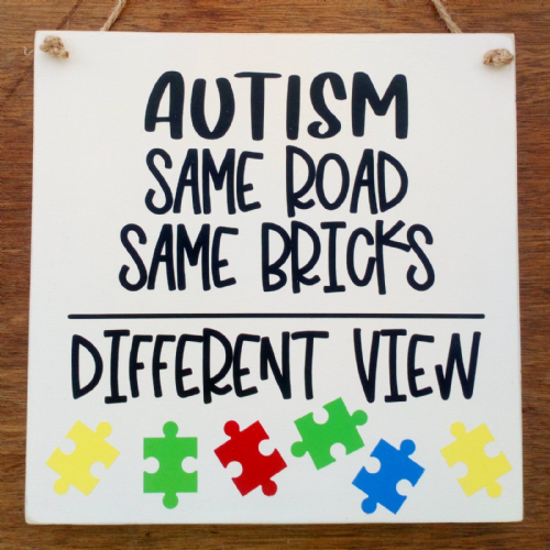 Autism Same Bricks Different View- Square Wooden Plaque